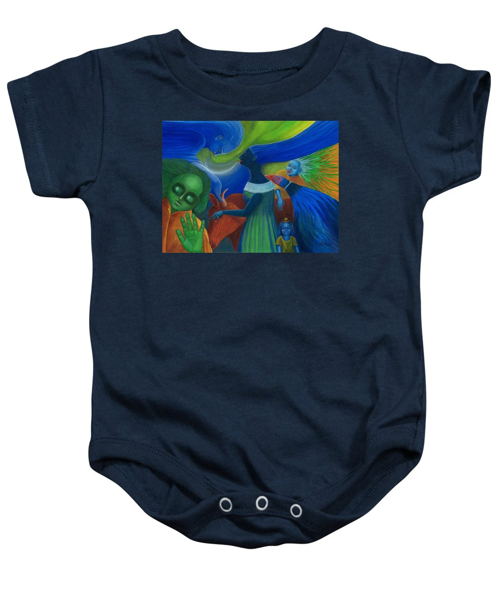 Surreal Baby Onesie featuring the painting The Talk. by Andrzej Pietal