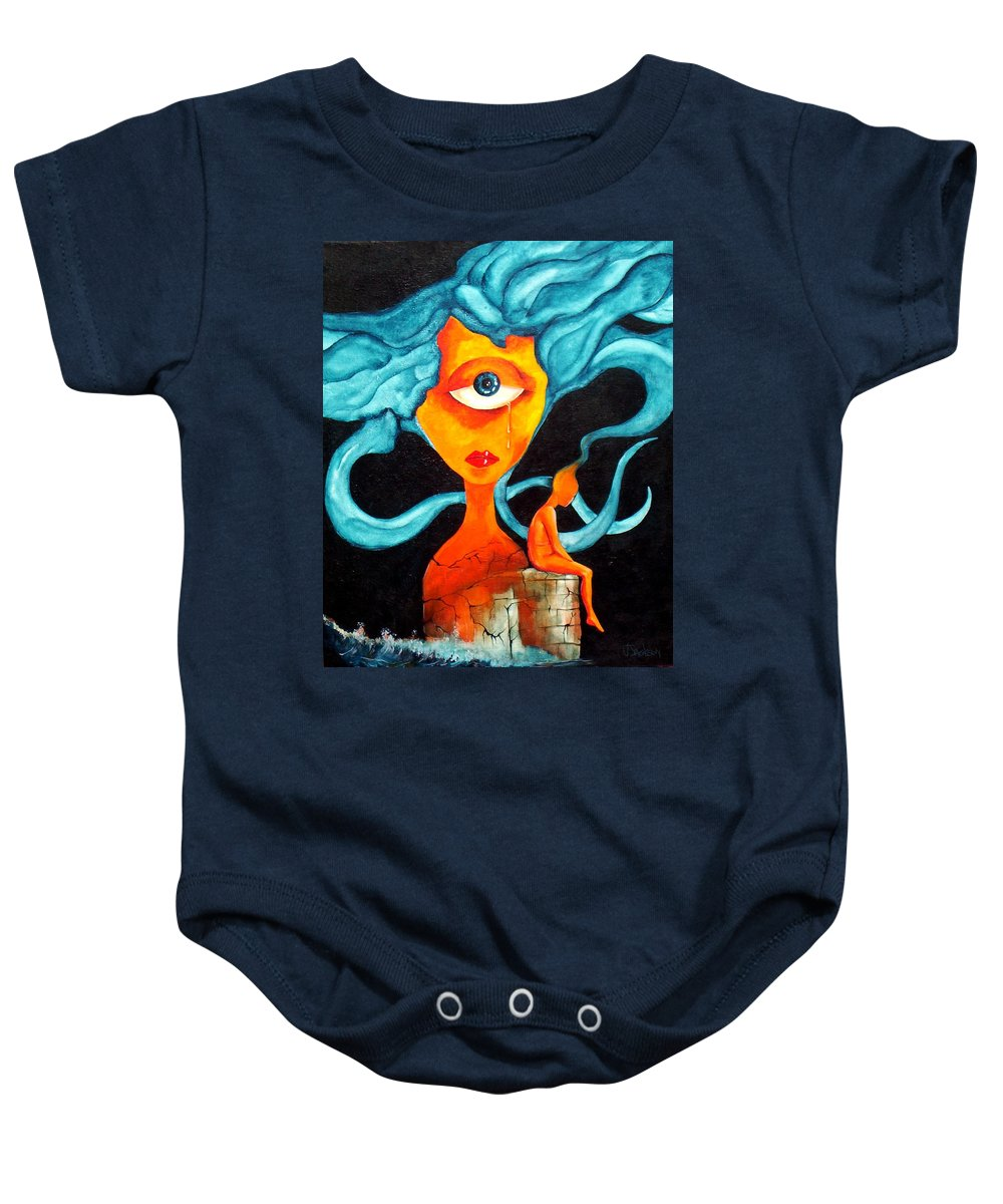 Surrealism Baby Onesie featuring the painting The Tear by Veronica Jackson