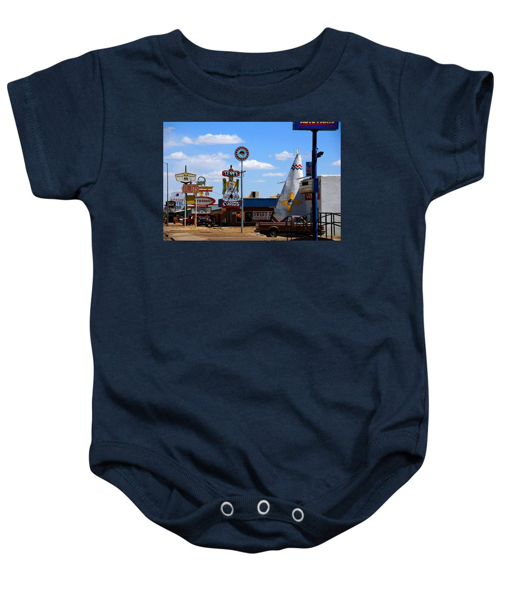 Tucumcari Baby Onesie featuring the photograph The Tee-pee Curios On Route 66 Nm by Susanne Van Hulst