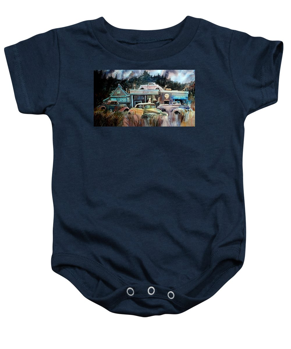 Stores Cars Trees Baby Onesie featuring the painting The Trading Post by Ron Morrison