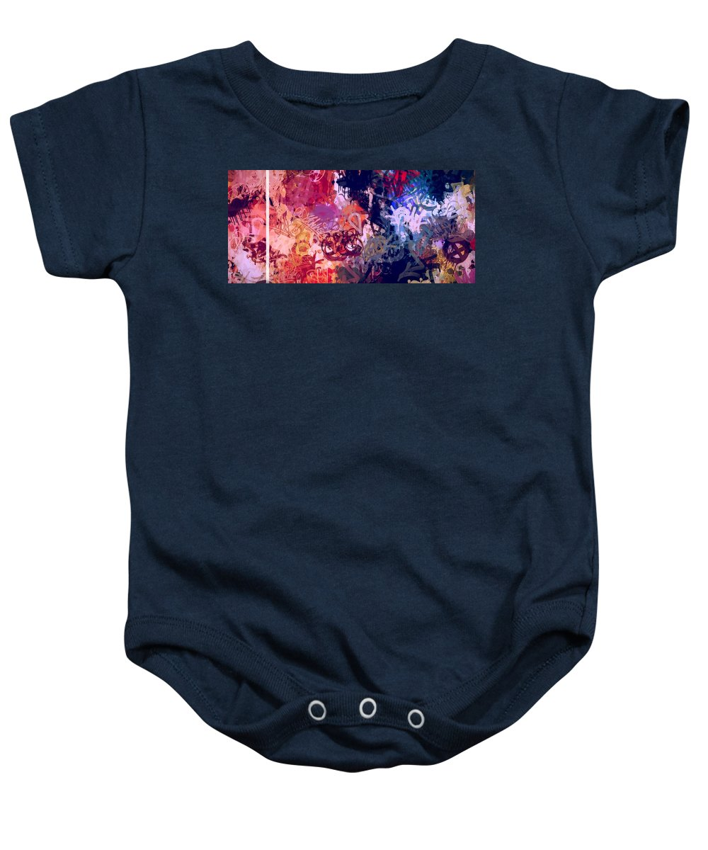 Wall Graffiti Digtal Art Expressionism Impressionism Sign Tags Abstract Co Baby Onesie featuring the digital art The Wall by Steve K