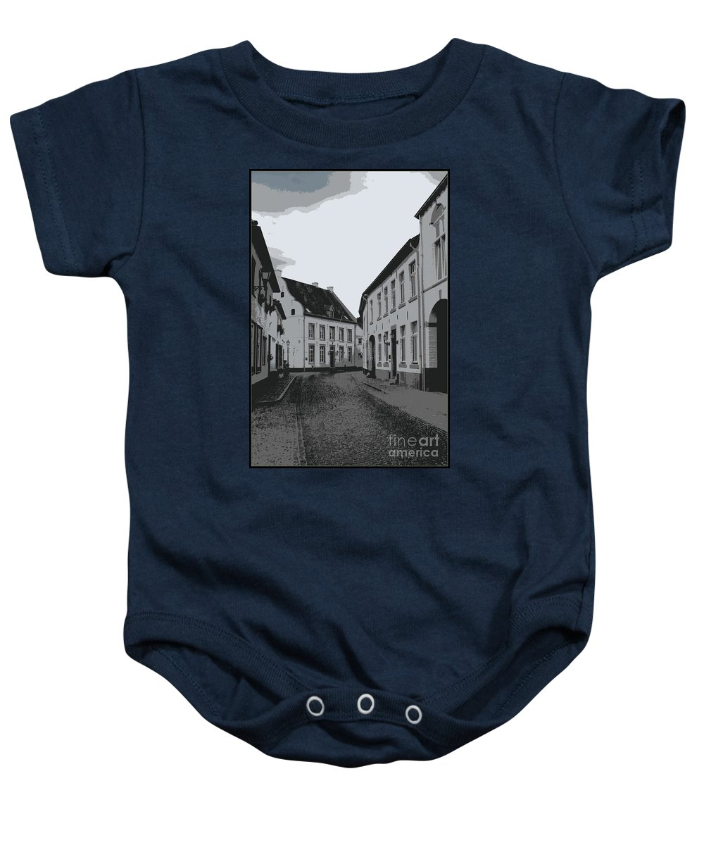 Gray And White Baby Onesie featuring the photograph The White Village - Digital by Carol Groenen