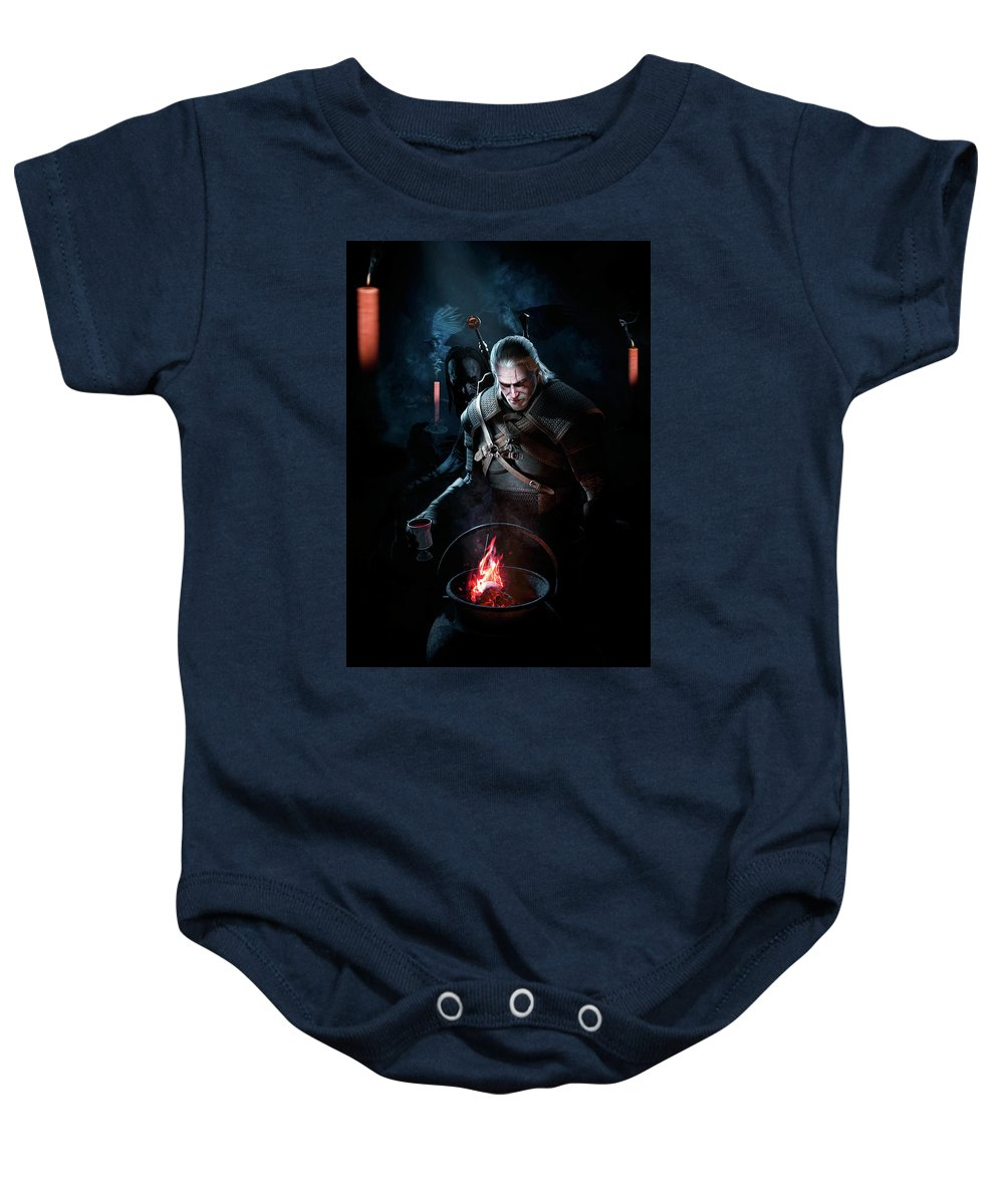 Witcher Baby Onesie featuring the digital art The Witcher by Evgeny Bubley