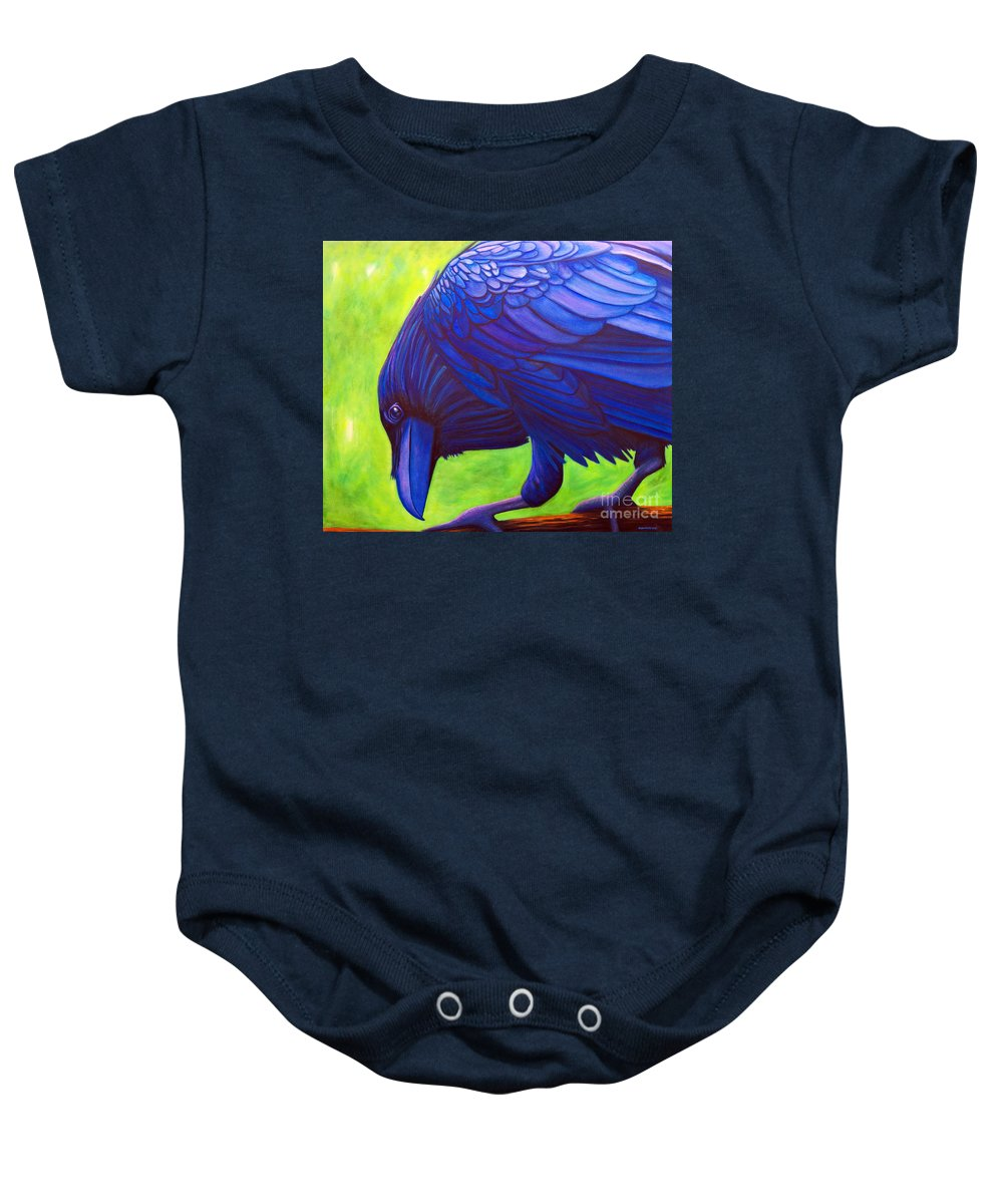 Raven Baby Onesie featuring the painting The Witness by Brian Commerford