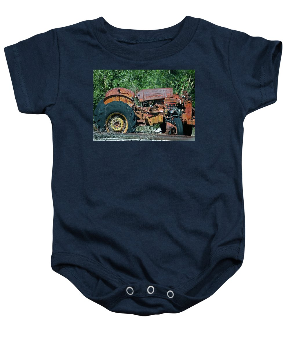 Tractor Baby Onesie featuring the digital art The Wrong Side Of The Tracks by DigiArt Diaries by Vicky B Fuller