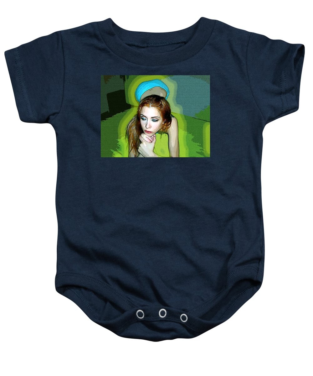 Women Baby Onesie featuring the photograph Thinking by Francisco Colon