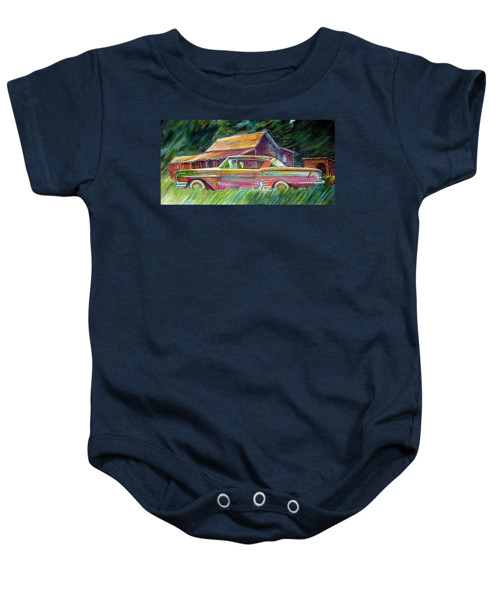 Rusty Car Chev Impala Baby Onesie featuring the painting This Impala Doesn by Ron Morrison