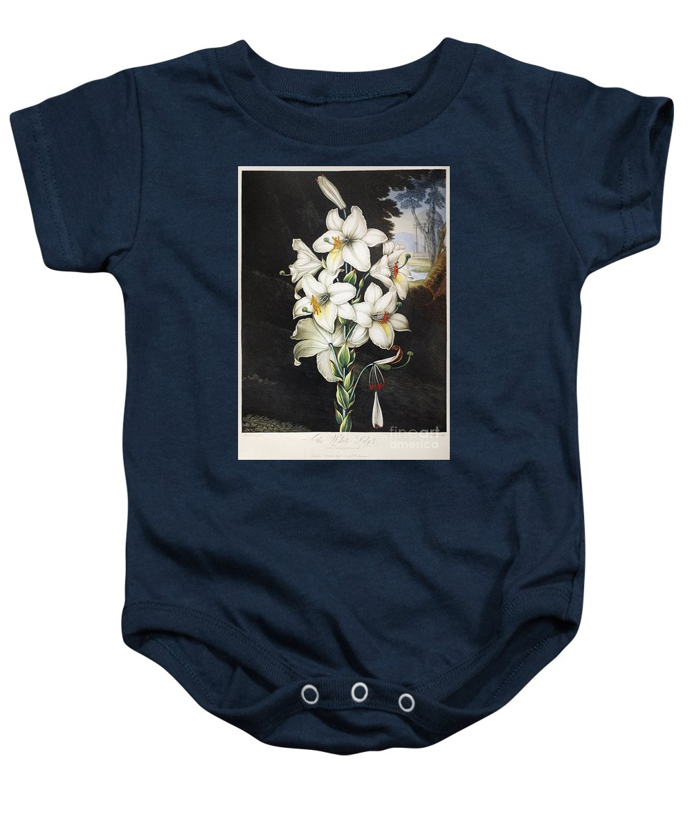 1800 Baby Onesie featuring the photograph Thornton: White Lily by Granger