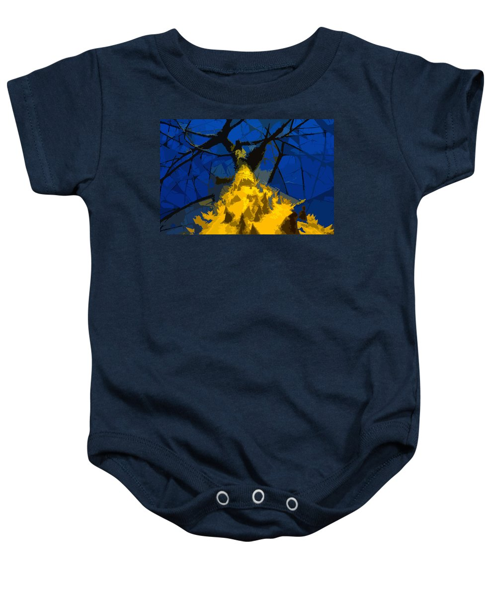 Blue Sky Baby Onesie featuring the painting Thorny Tree Blue Sky by David Lee Thompson