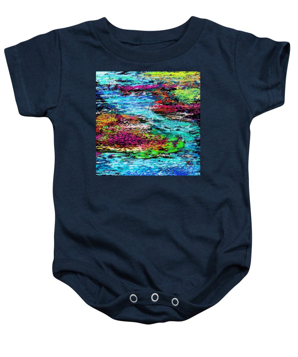 Abstract Baby Onesie featuring the digital art Thought Upon A Stream by David Lane