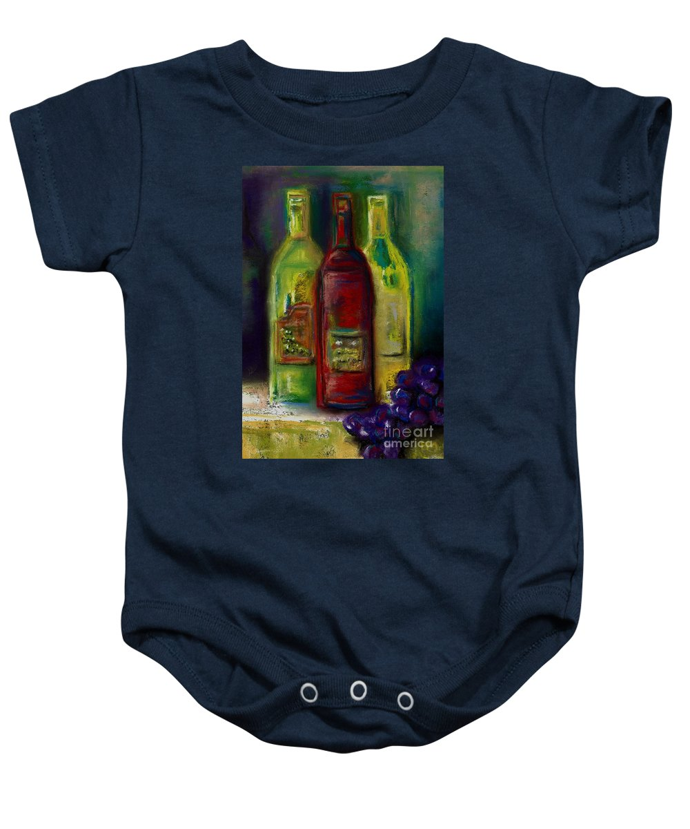 Wine Baby Onesie featuring the painting Three More Bottles Of Wine by Frances Marino