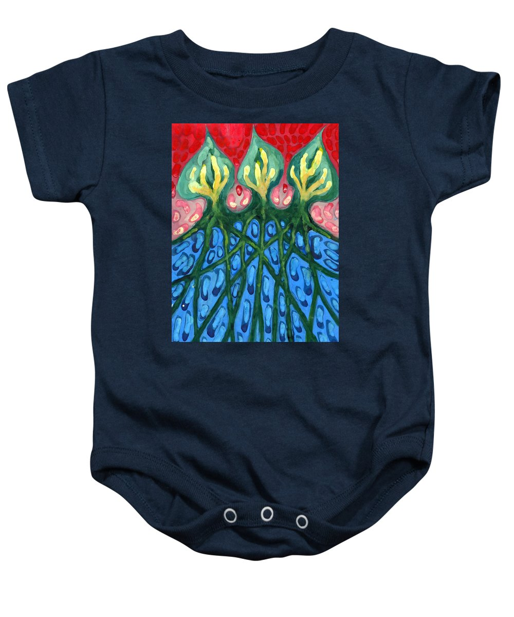 Colour Baby Onesie featuring the painting Three by Wojtek Kowalski