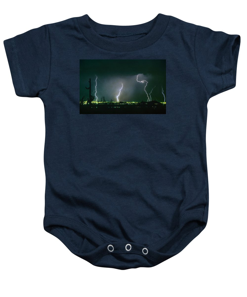 Lightning Baby Onesie featuring the photograph Thunderstorm View From North Scottsdale Arizona by James BO Insogna