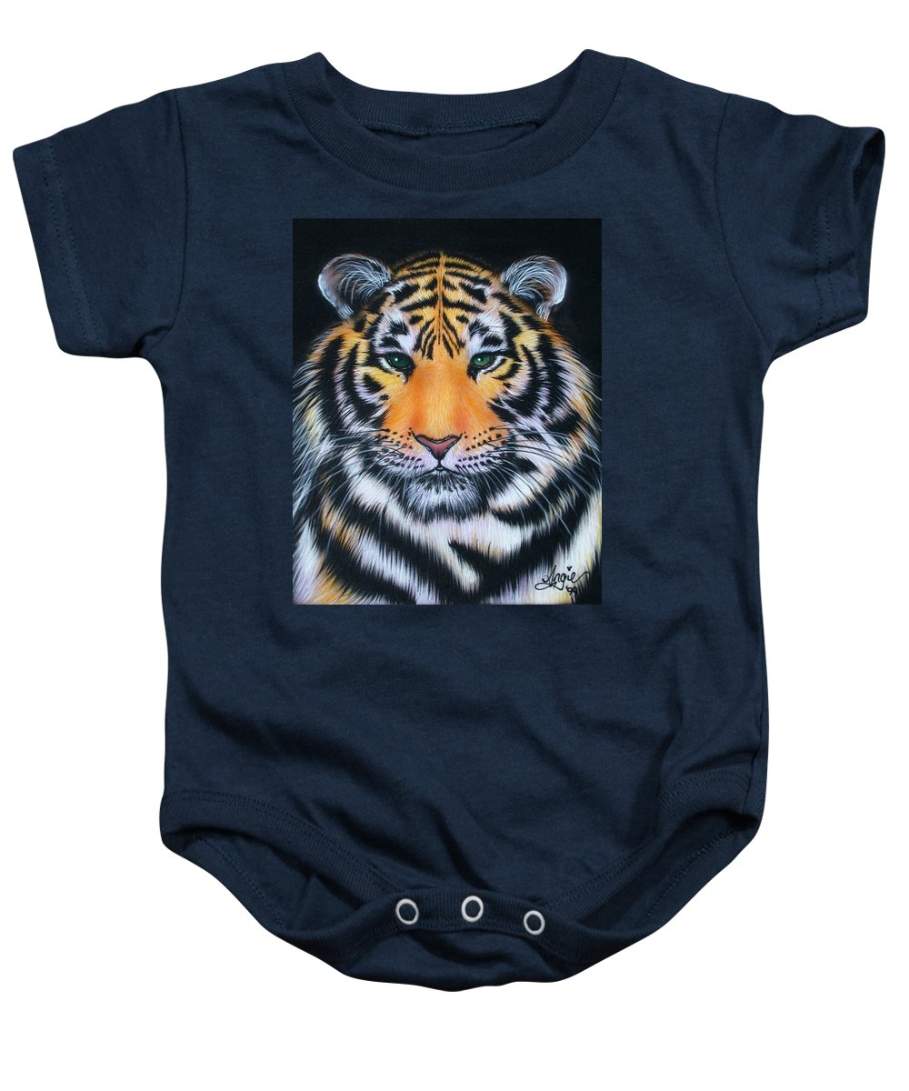 Tiger Baby Onesie featuring the painting Tiger 1 by Angie Hamlin