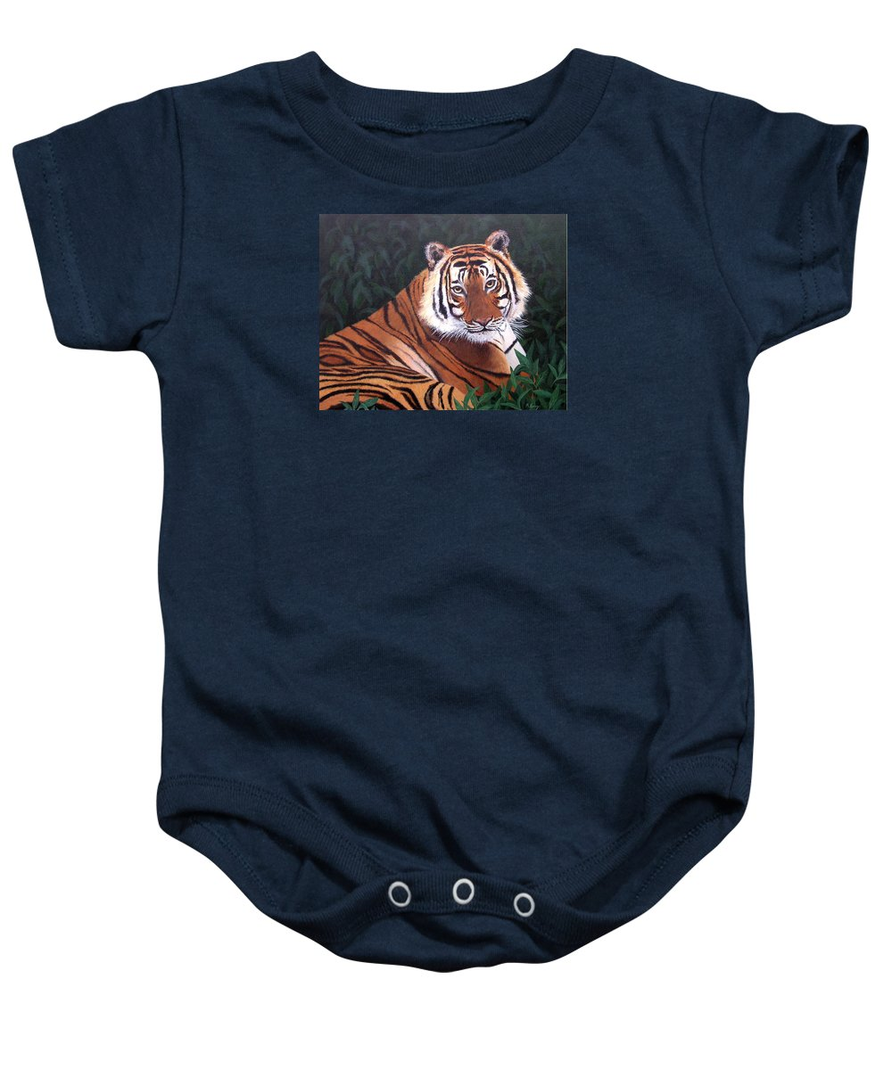 Tiger Baby Onesie featuring the painting Tiger by Melissa Joyfully