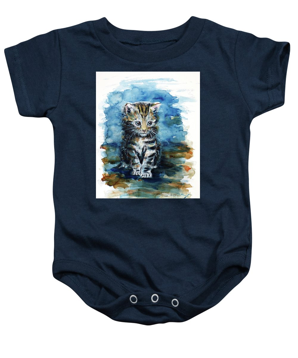Timid Kitten Baby Onesie featuring the painting Timid Kitten by Zaira Dzhaubaeva