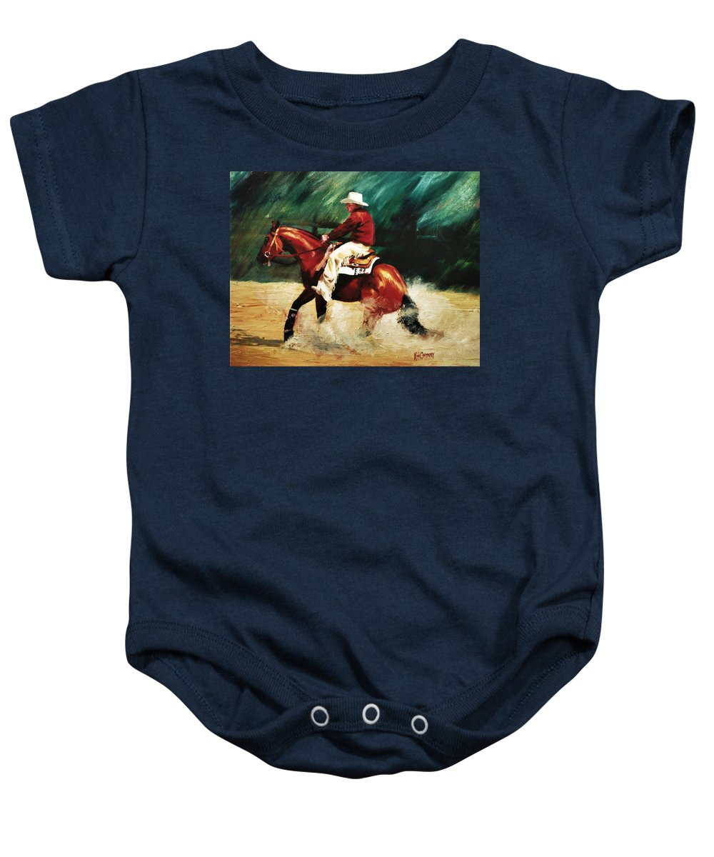 Slide Stop Baby Onesie featuring the painting Tk Enterprise Sliding Stop Reining Horse Portrait Painting by Kim Corpany