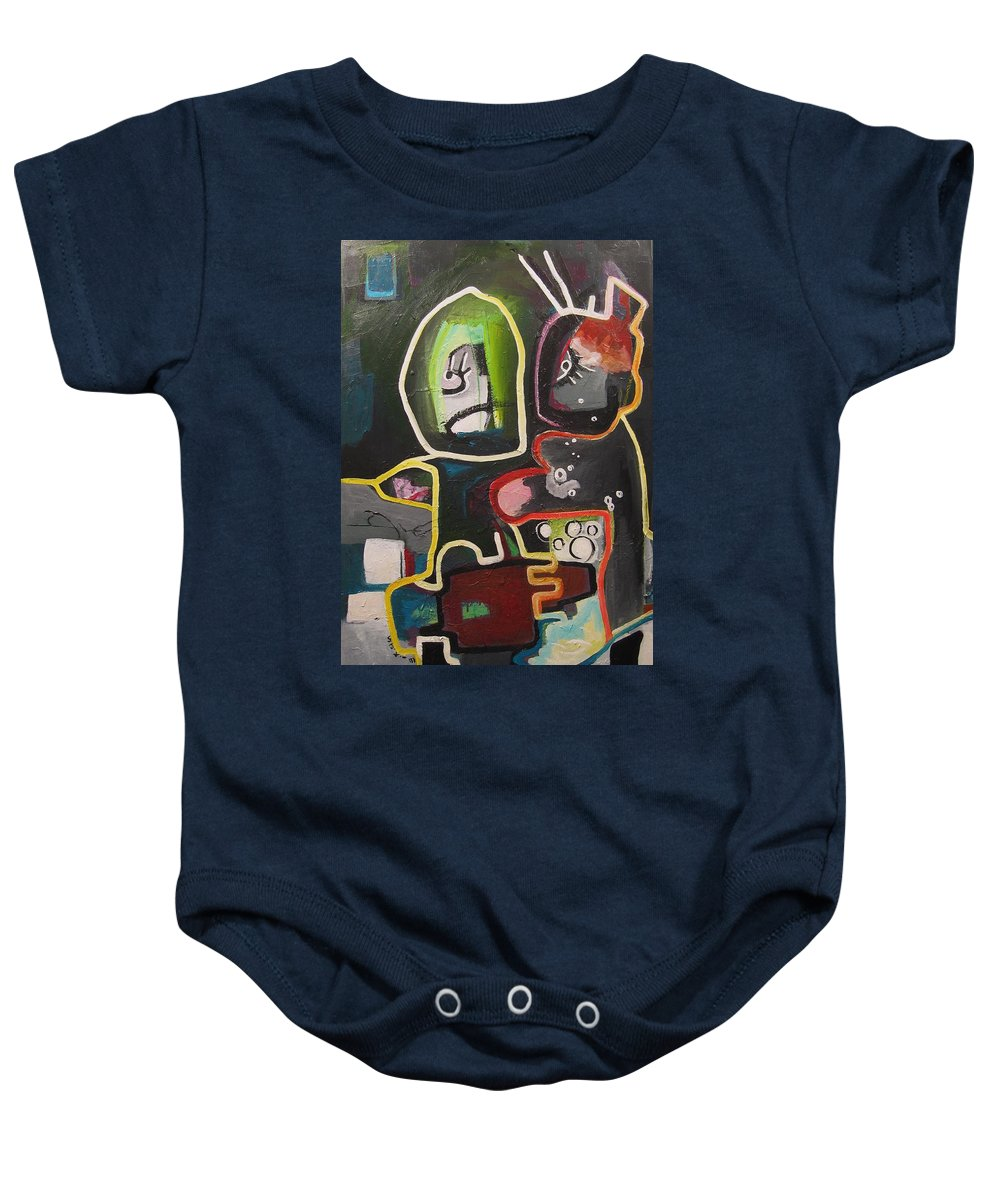 Couple Paintings Baby Onesie featuring the painting To Get Along by Seon-Jeong Kim