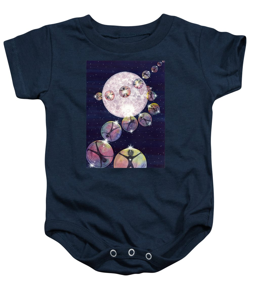 Moon Baby Onesie featuring the painting To The Moon And Beyond by Catherine G McElroy