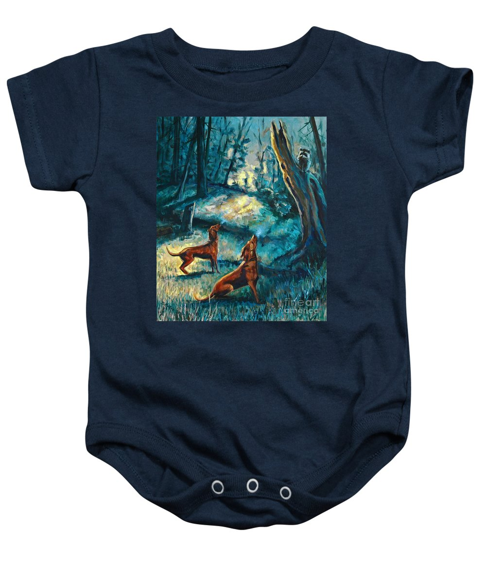 Acrylic Baby Onesie featuring the painting Treed At Dawn by Suzanne McKee