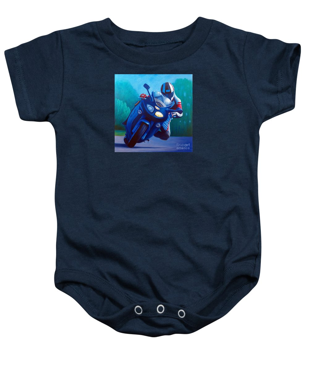Motorcycle Baby Onesie featuring the painting Triumph Sprint - Franklin Canyon by Brian Commerford