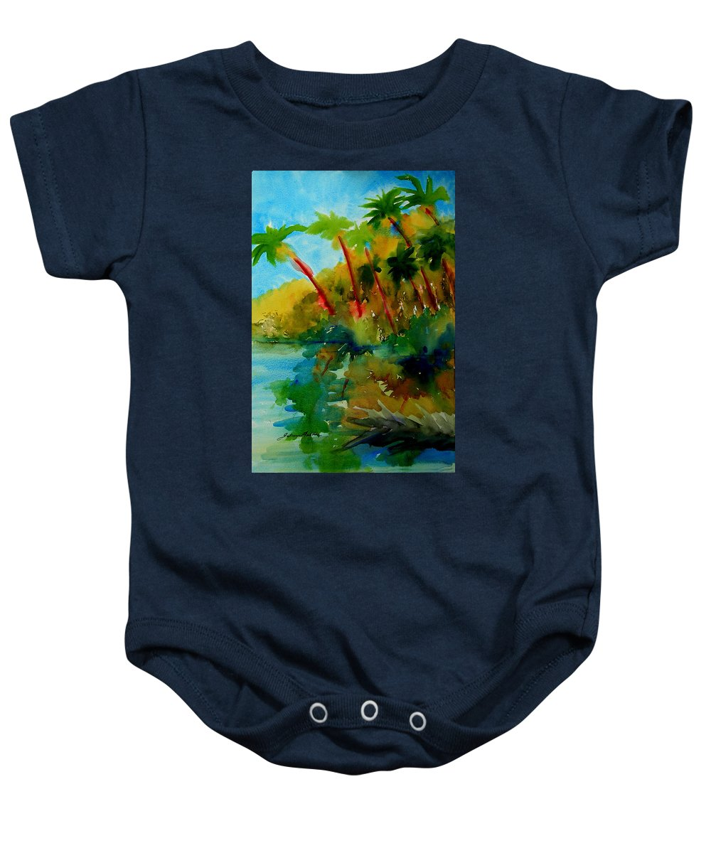 Art Baby Onesie featuring the painting Tropical Canal by Julianne Felton