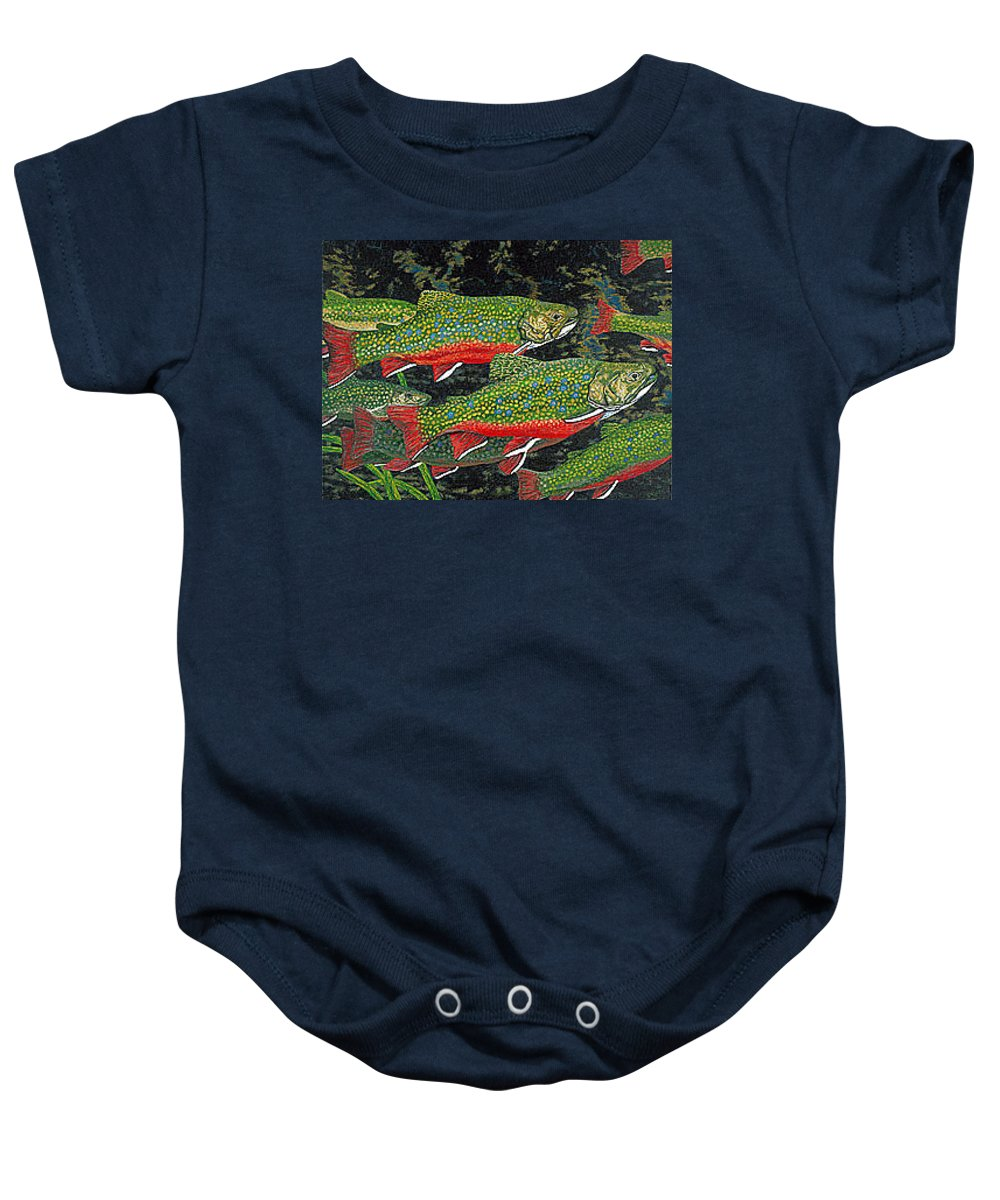 Art Baby Onesie featuring the painting Trout Art Brook Trout Fish Artwork Giclee Wildlife Underwater by Baslee Troutman