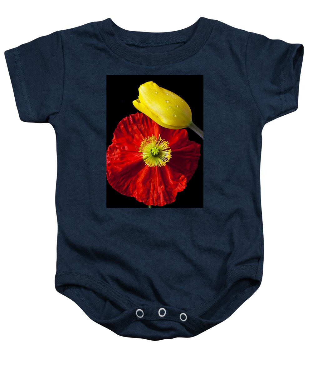 Yellow Baby Onesie featuring the photograph Tulip And Iceland Poppy by Garry Gay