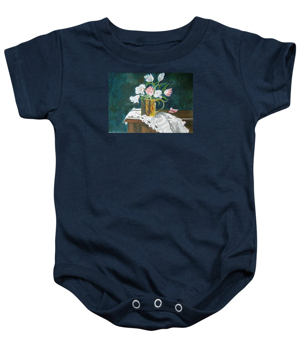 Tulips Baby Onesie featuring the painting Tulips by Manjiri Kanvinde