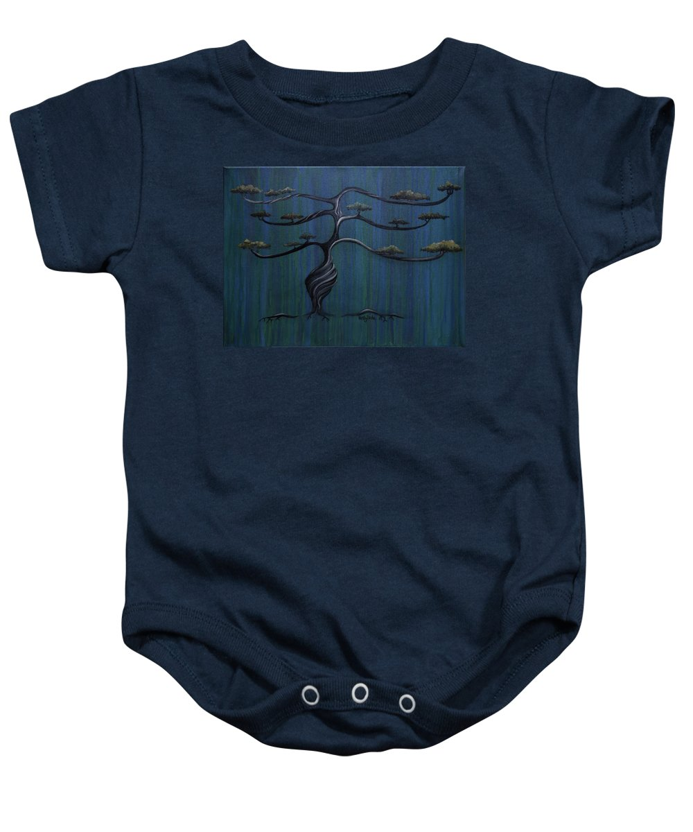 Tree Baby Onesie featuring the painting Twisted Oak by Kelly King