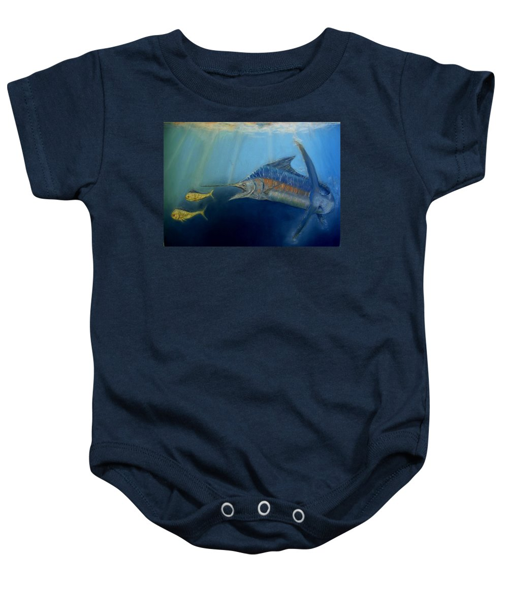 Marine Wildlife Baby Onesie featuring the pastel Two For Lunch by Ceci Watson