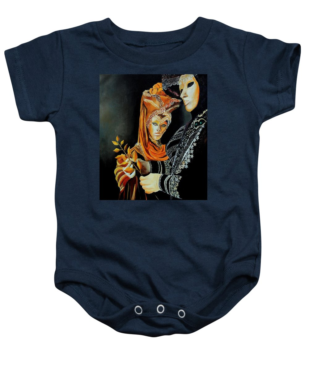 Mask Venice Carnavail Italy Baby Onesie featuring the painting Two masks in Venice by Pol Ledent