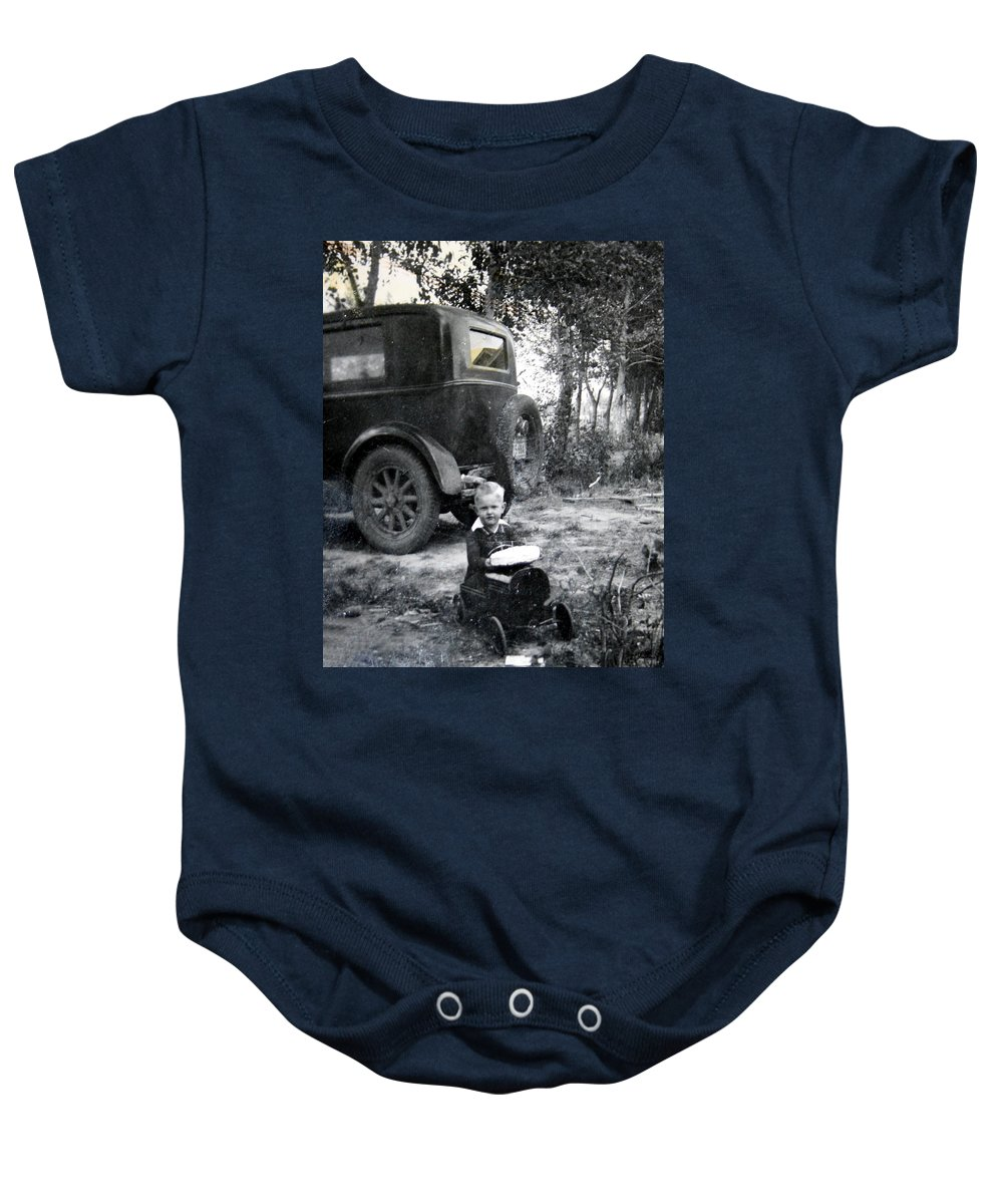 Classic Cars Antique Automobile Toy Toys Black And White Photograph Classic Baby Onesie featuring the photograph Two Old Cars by Andrea Lawrence