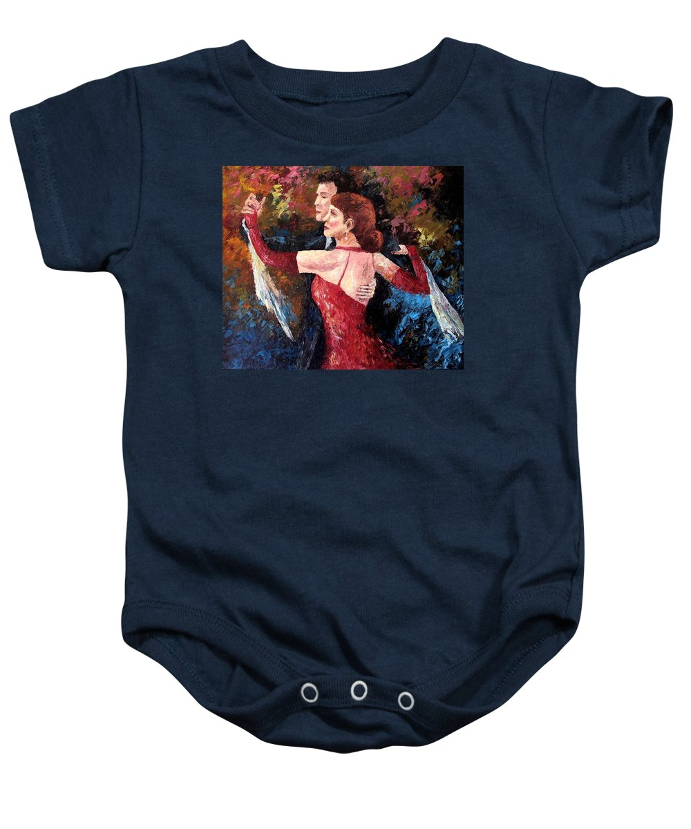 Tango Baby Onesie featuring the painting Two To Tango by David G Paul