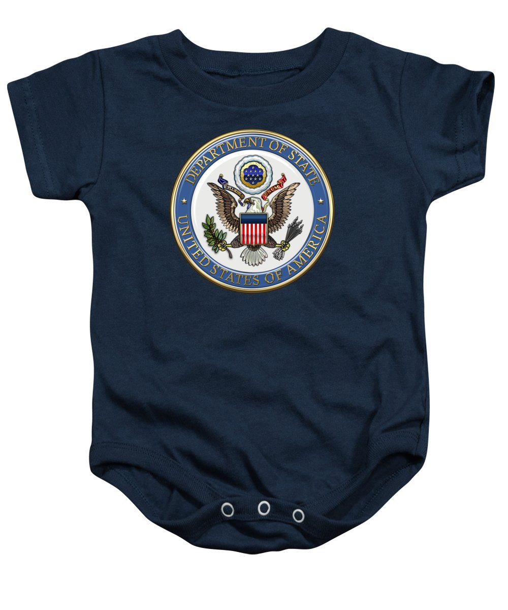 'military Insignia & Heraldry 3d' Collection By Serge Averbukh Baby Onesie featuring the digital art U. S. Department Of State - D O S Emblem Over Blue Velvet by Serge Averbukh