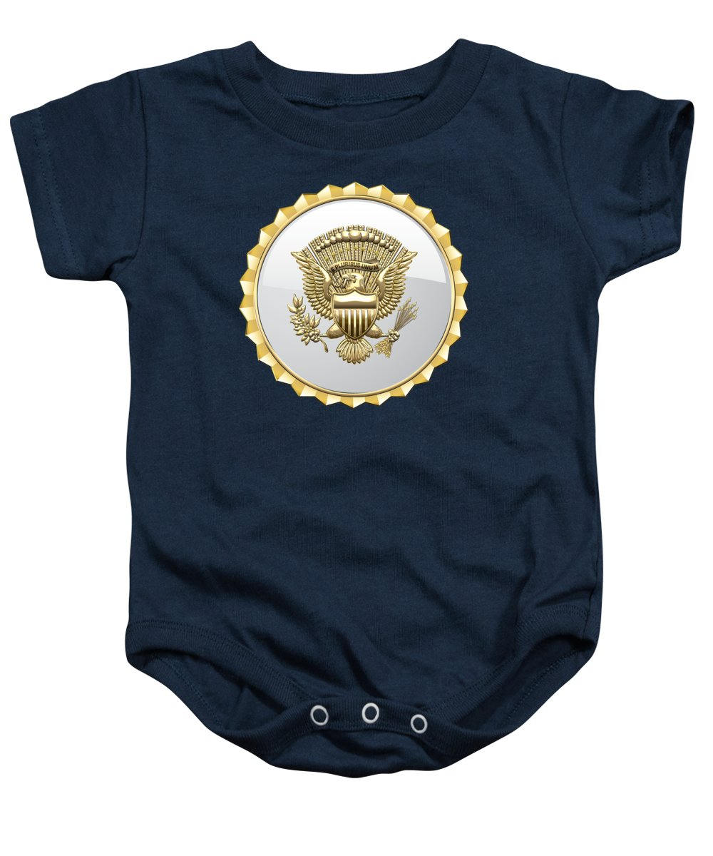 'military Insignia & Heraldry 3d' Collection By Serge Averbukh Baby Onesie featuring the digital art Vice Presidential Service Badge On Blue Velvet by Serge Averbukh