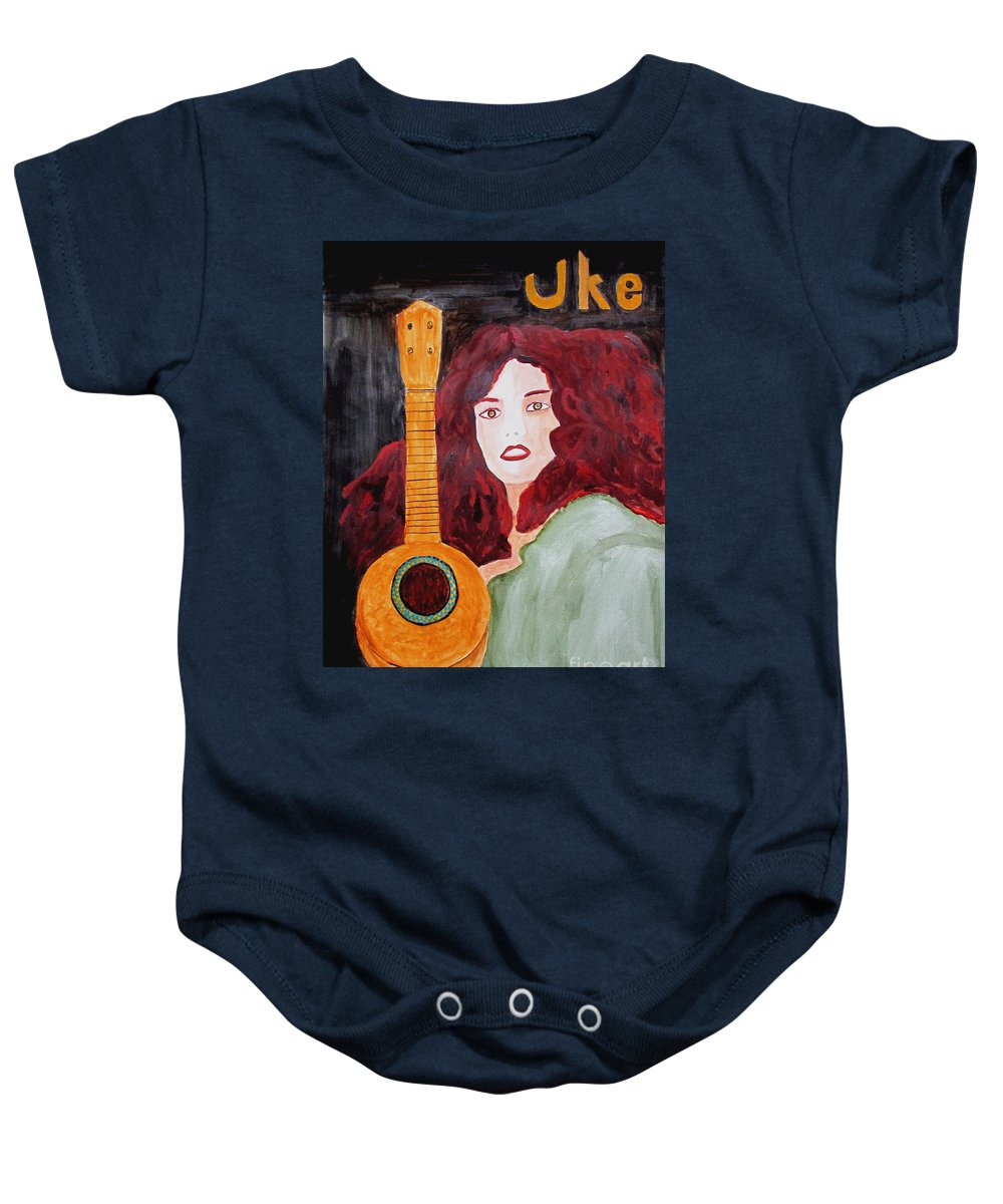 Watercolor Baby Onesie featuring the painting Uke by Sandy McIntire