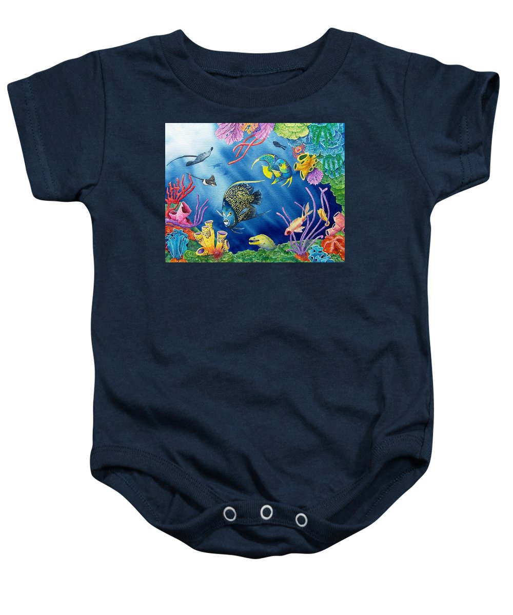 Undersea Baby Onesie featuring the painting Undersea Garden by Gale Cochran-Smith