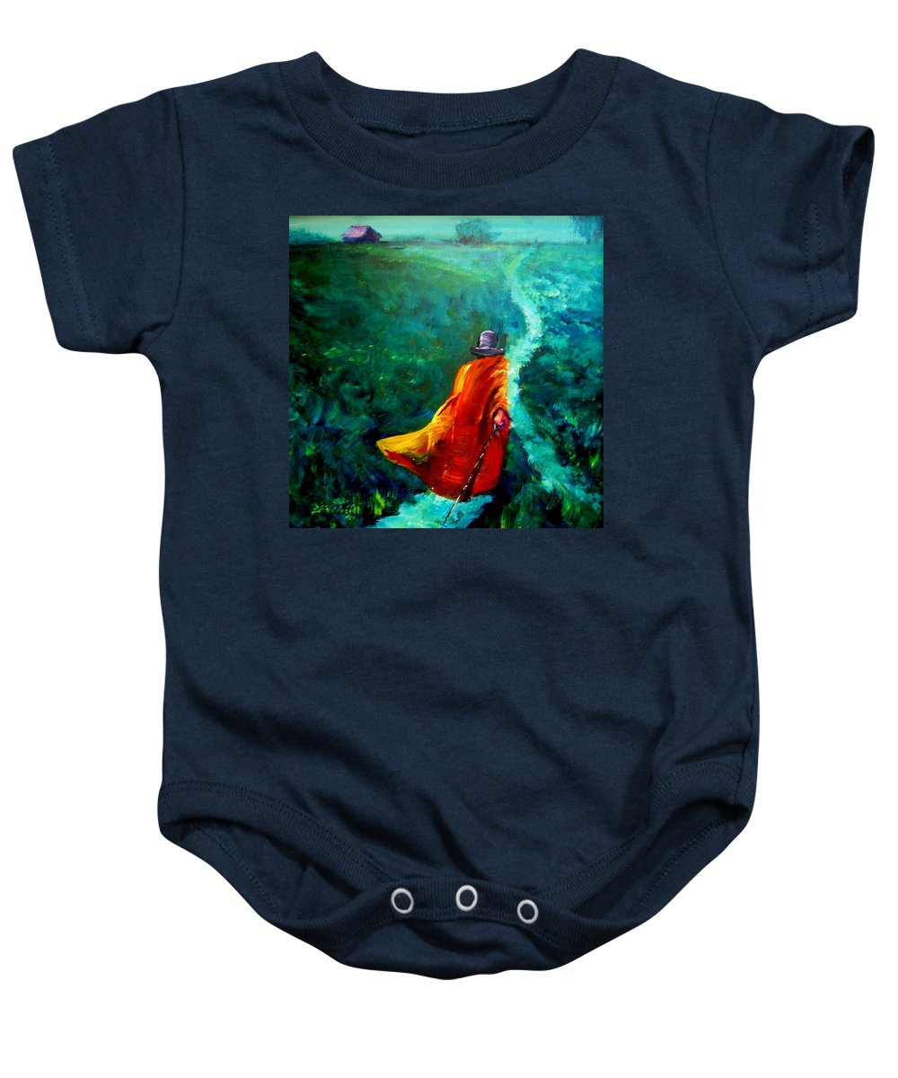 Expressionist Baby Onesie featuring the painting Up That Hill by Jason Reinhardt