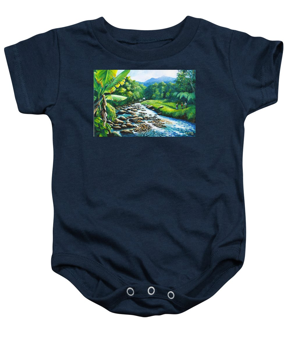 Chris Cox Baby Onesie featuring the painting Upriver by Christopher Cox