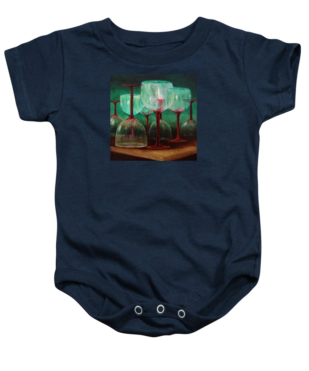 Oil Baby Onesie featuring the painting Upsidedown by Linda Hiller