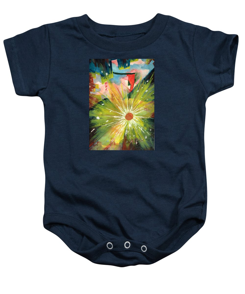 Downtown Baby Onesie featuring the painting Urban Sunburst by Andrew Gillette