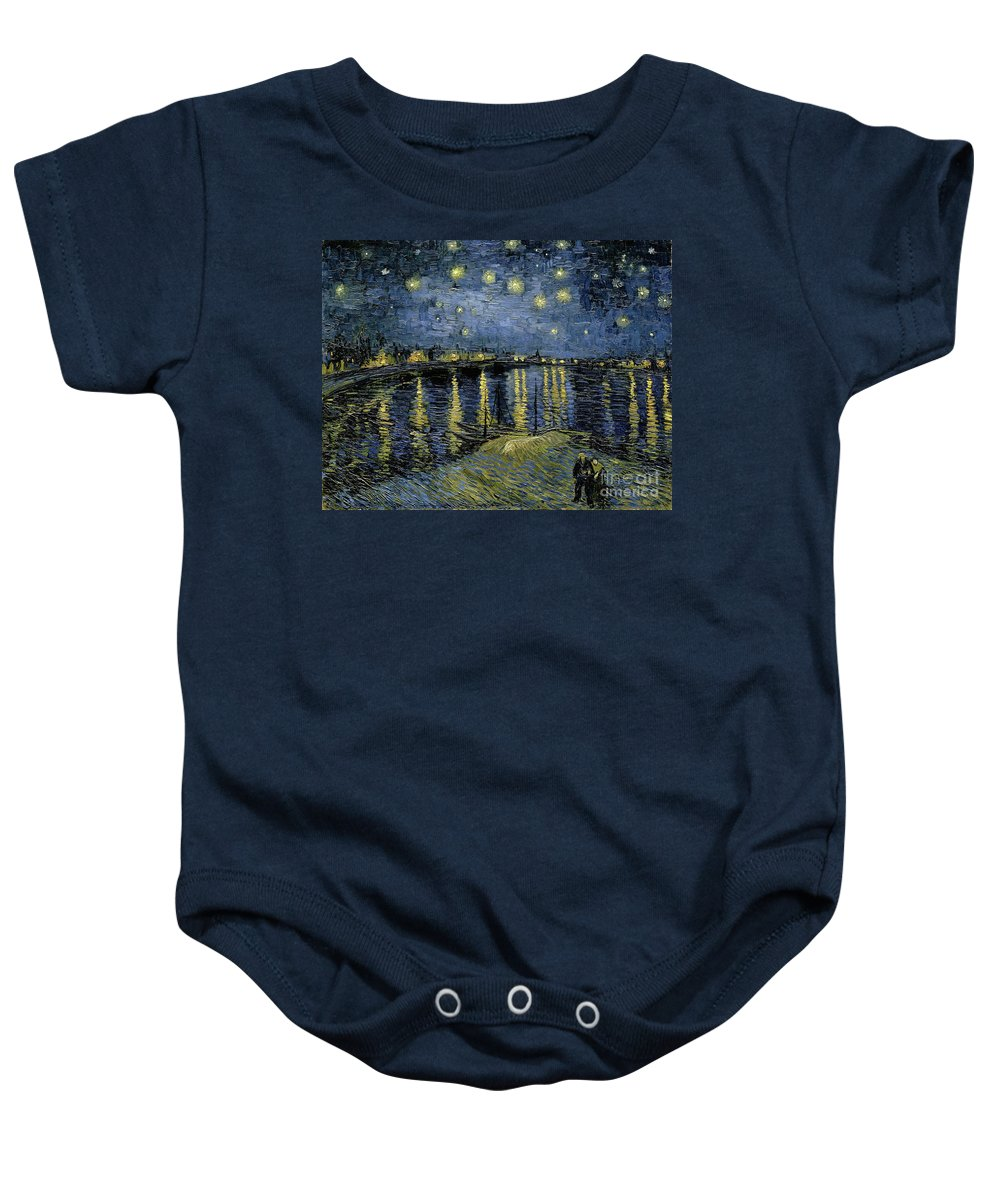 1888 Baby Onesie featuring the painting Van Gogh, Starry Night by Granger