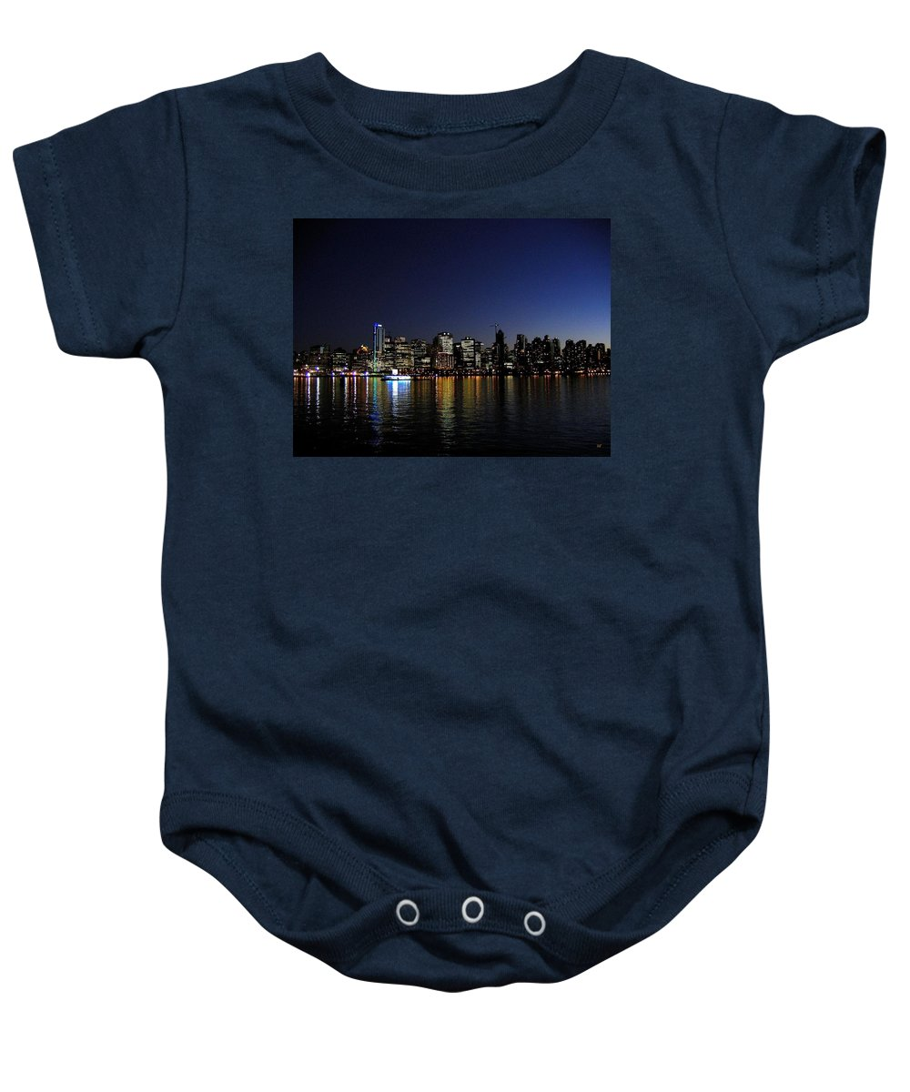 Night Scape Baby Onesie featuring the photograph Vancouver Night Lights by Will Borden