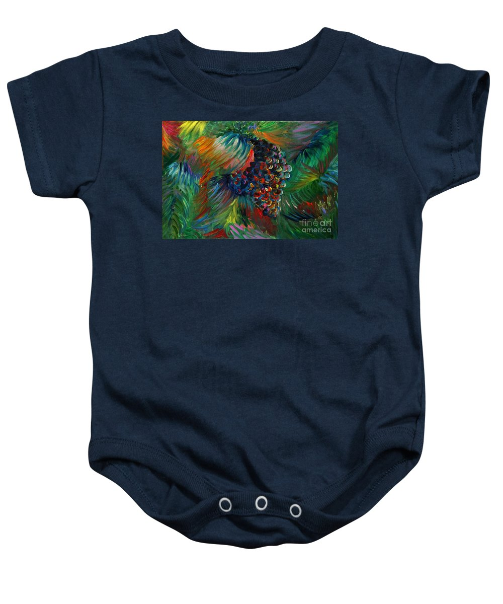 Grapes Baby Onesie featuring the painting Vibrant Grapes by Nadine Rippelmeyer