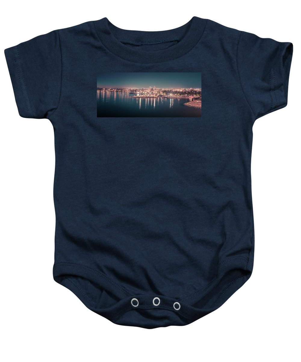 Victoria Bc Baby Onesie featuring the photograph Victoria British Columbia City Lights View From Cruise Ship by Alex Grichenko