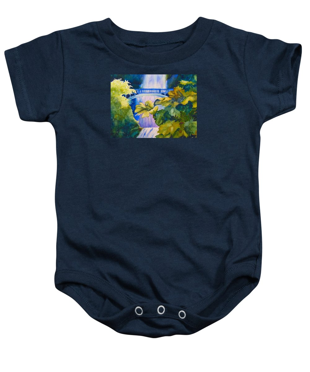 Waterfall Baby Onesie featuring the painting View Of The Bridge by Karen Stark