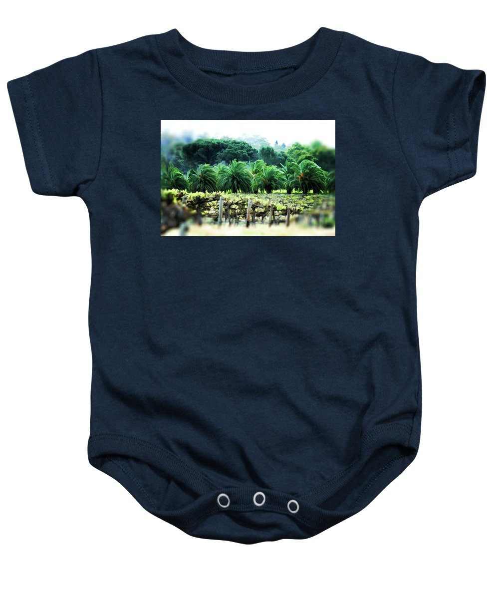 Vineyard Baby Onesie featuring the photograph Vino Palmetto by Douglas Barnard