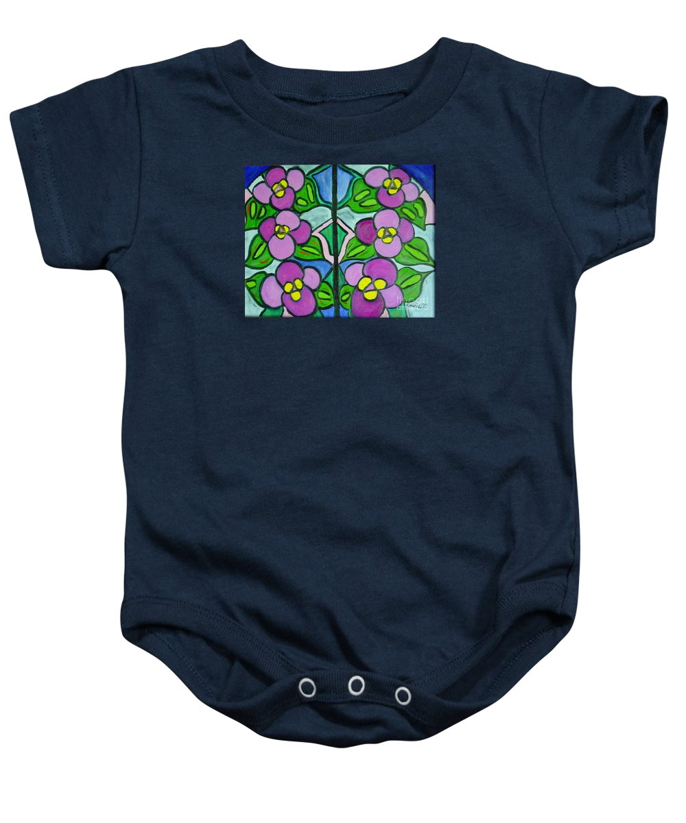 Violets Baby Onesie featuring the painting Vintage Violets by Laurie Morgan