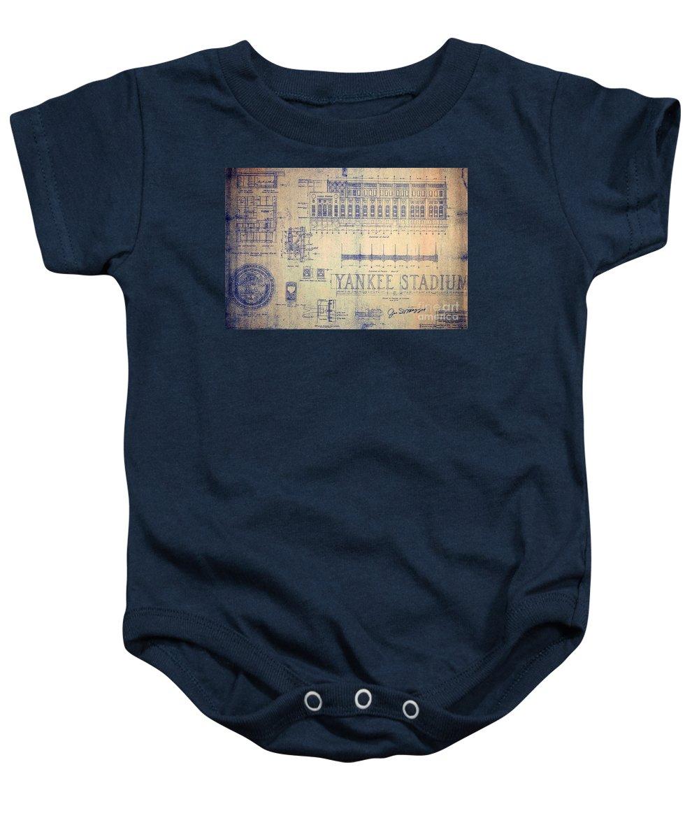 Joe Dimaggio Baby Onesie featuring the drawing Vintage Yankee Stadium Blueprint by Peter Ogden Gallery